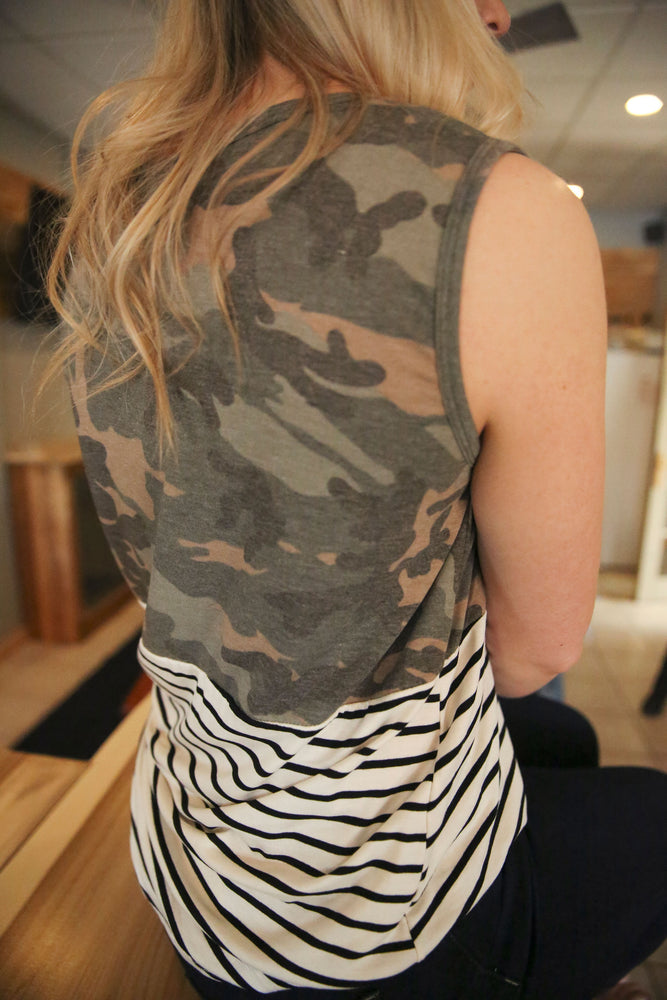 Camo Striped Tank Top
