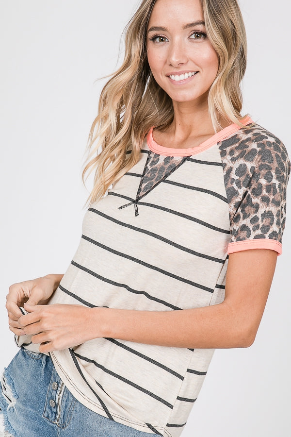 Leopard Coral Top