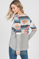 Aztec & Striped Top