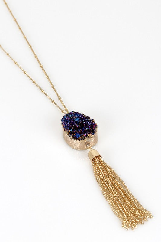 Electroplated Druzy Pendant Necklace