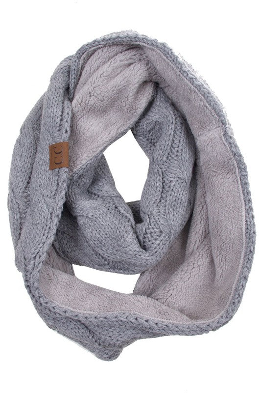 CC Knitted Scarf with Sherpa Lining