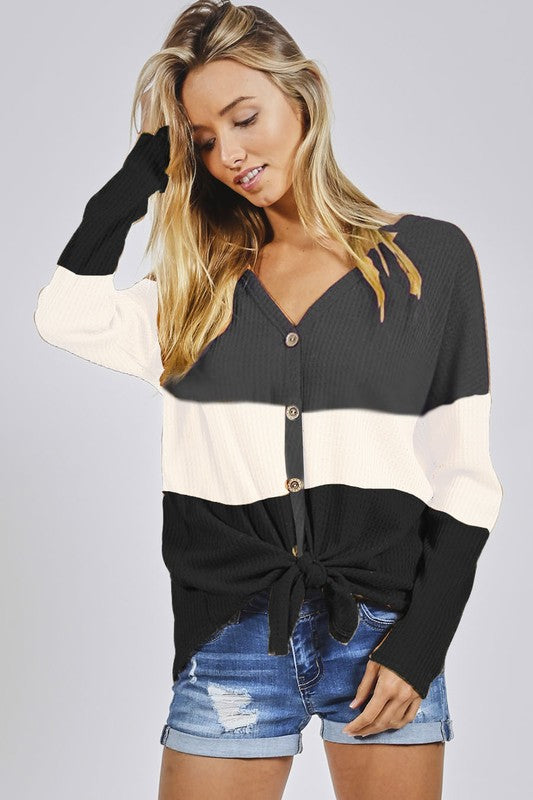 Color Block Waffle Top