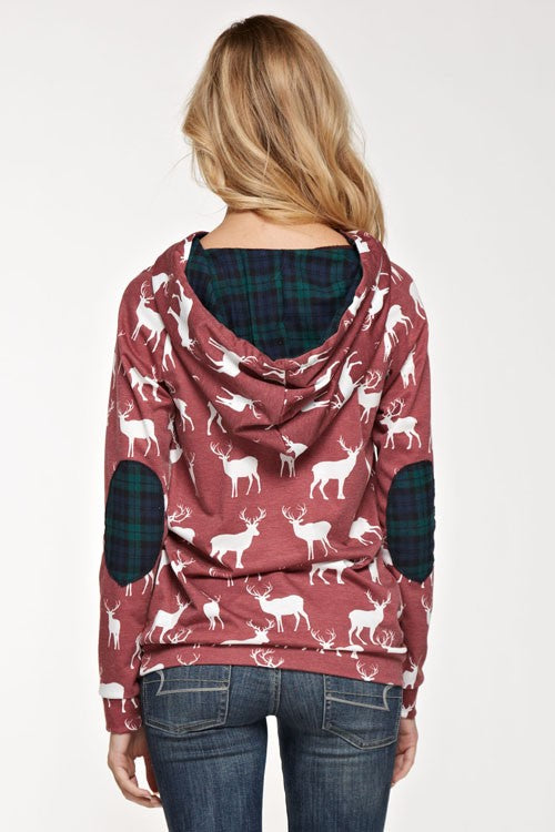 Moose and Plaid Hoodie - Burgundy