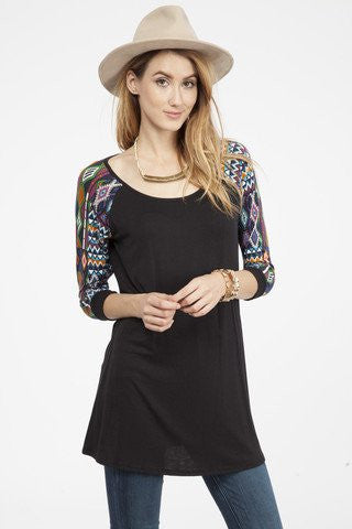 Aztec Printed Sleeve Top
