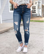 Grace & Lace button fly distressed cuffed jeggings