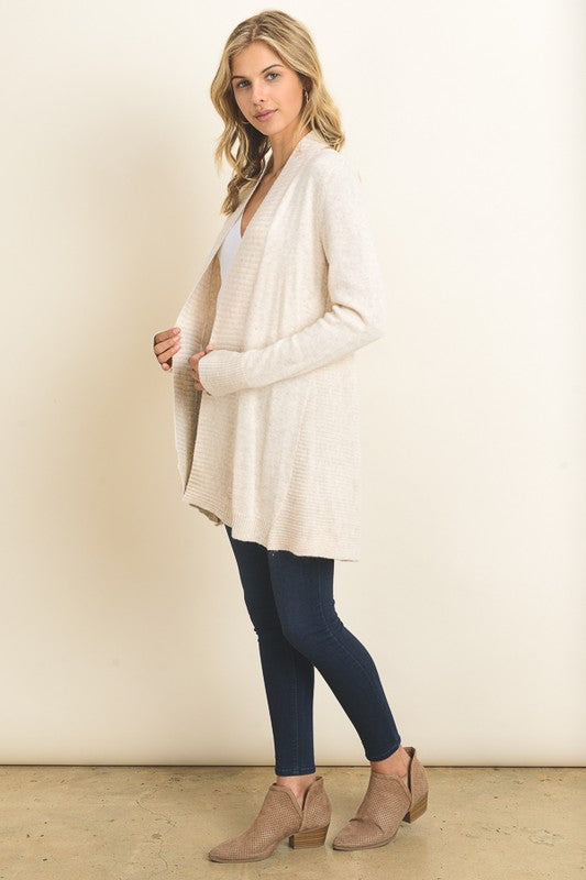 The Sam Ribbed Cardigan - Beige
