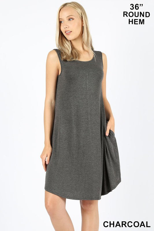 Sleeveless Round Dress with Pockets - Charcoal