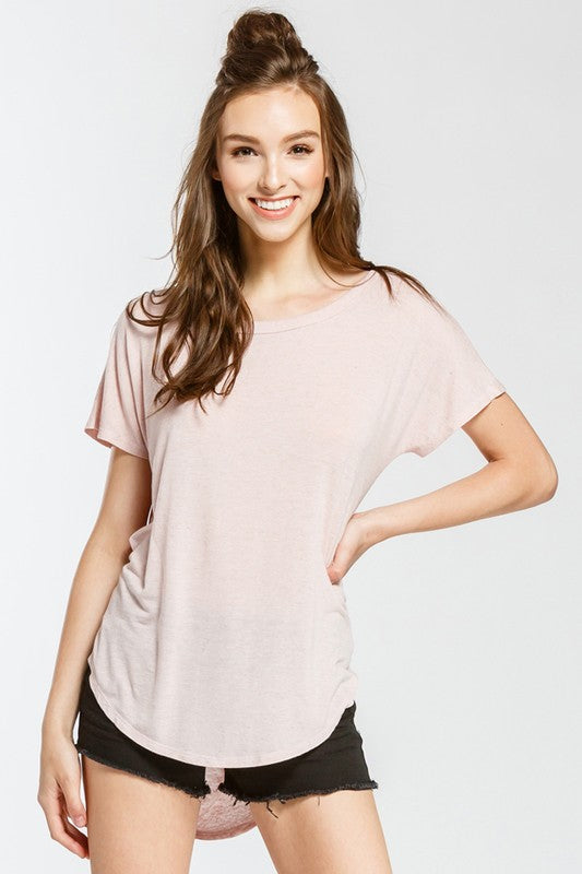 The Kim Open Back Tee Top - Pink