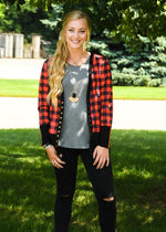 Buffalo Plaid Cardigan With Elbow Patches