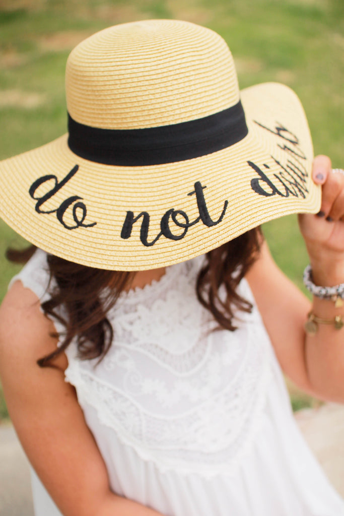 Do Not Disturb Lettering Straw Hat
