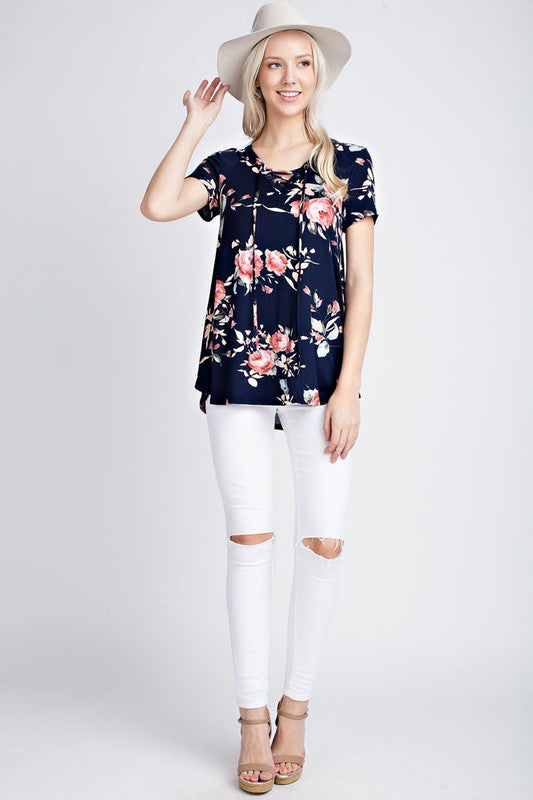 THE BELL FLORAL SHORT SLEEVE TOP - Navy
