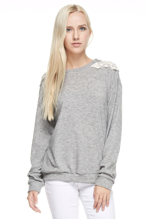 Grey Sweatshirt with Lace