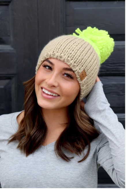 Neon Green & Taupe Fleece Lined Beanie