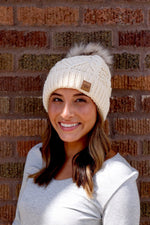 Cream Fleece lined Cable Knit Beanie