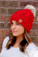 Red Fleece Lined Cable Knit Beanie