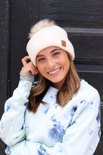 Cream Fleece Lined Beanie with PomPom