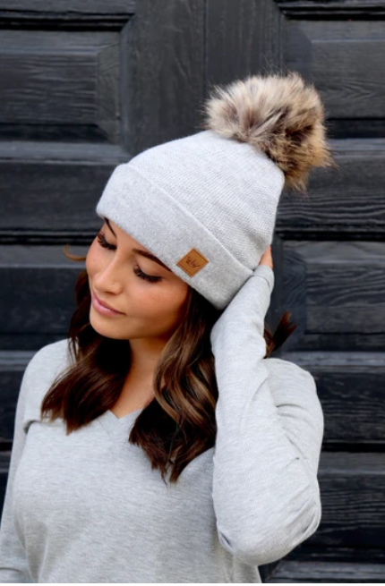 Light Grey Fleece Line Beanie with PomPom