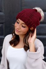 Wine Fleeced Lined Beanie with PomPom