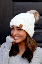 White Fleeced Lined Beanie with PomPom