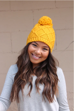 Mustard Fleece Knit Beanie with PomPom