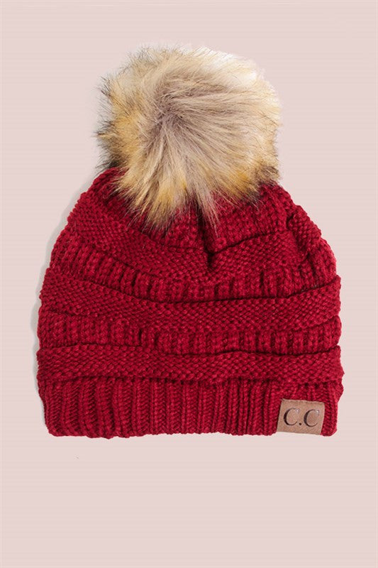 burgundy Beanie with POm POm