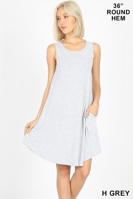 Sleeveless Round Dress with Pockets - Heather Grey