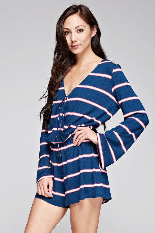 Chic Striped Long Sleeve Romper