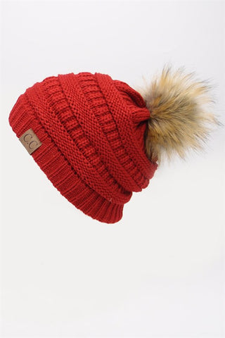 Beanie with Pom Pom - Red
