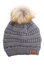 Beanie with Pom Pom - Light Grey