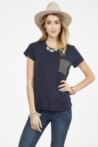 Navy Tee with Striped Pocket Tee
