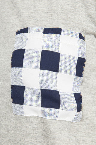 Heather Grey with Plaid Pocket