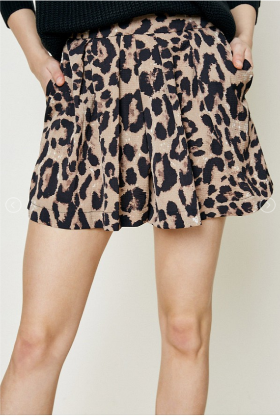 Leopard Pleat Shorts
