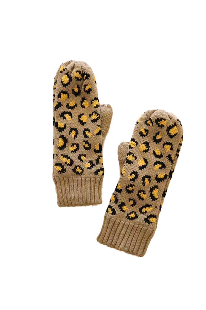 Tan & Leopard Fleece Lined Mittens