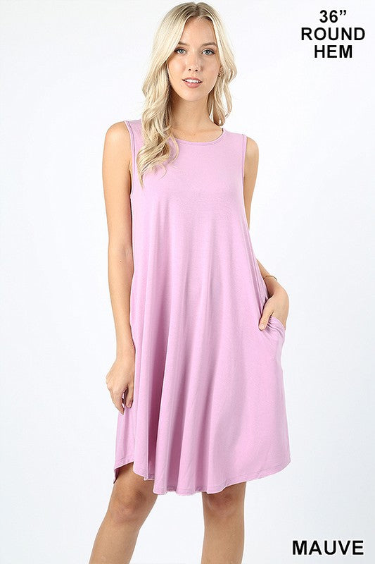 Sleeveless Round Dress with Pockets - Mauve
