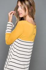 The May Top with Back Button Detail - Mustard