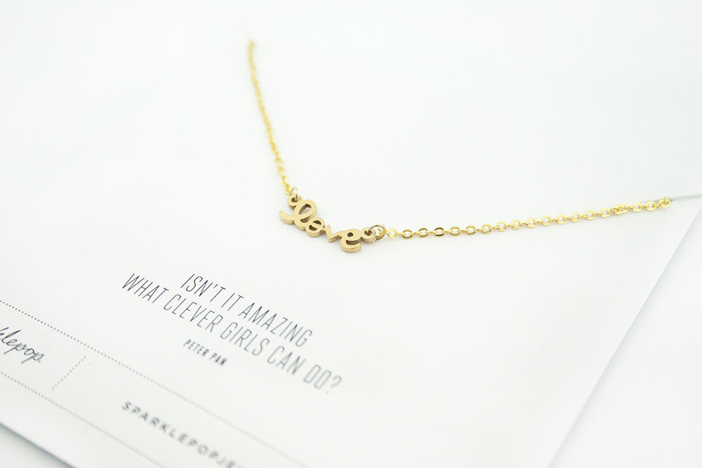 Love Script Necklace, 18K Gold Plated