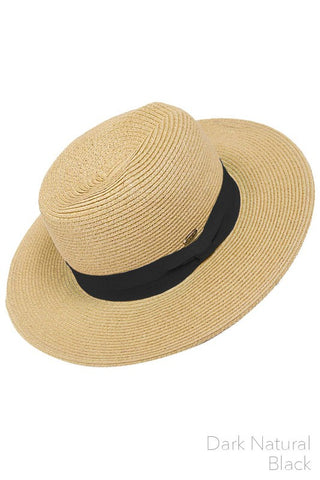 Natural Straw Hat with Color Band Accent
