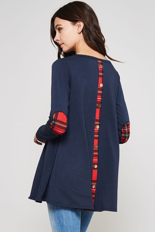 Solid French Terry Top with Plaid Accents - Navy