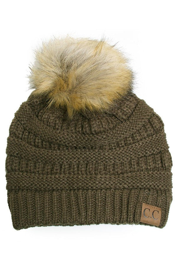 Dark Olive Beanie with POm POm