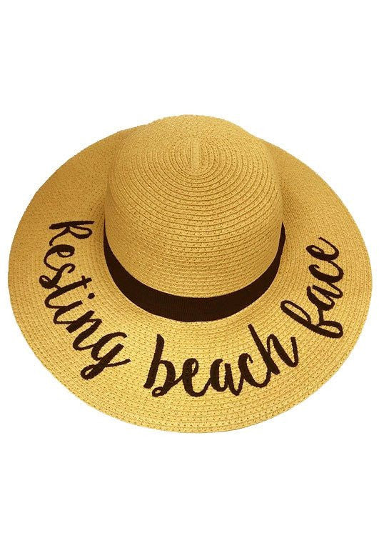 Resting Beach Face Lettering Straw Hat