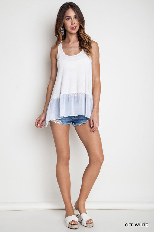 Ruffled up Ribbed Tank