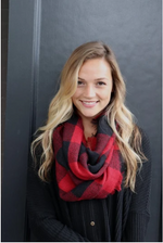 Buffalo Plaid Infinity Scarf - Red & Black