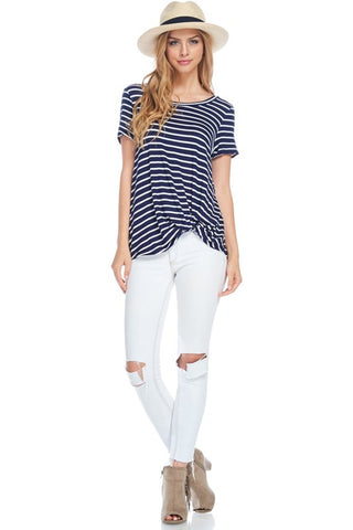 Ray Striped Front Knot Top