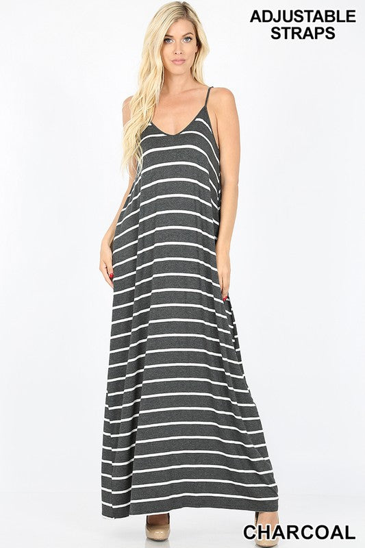 STRIPED V-NECK CAMI MAXI DRESS WITH POCKETS