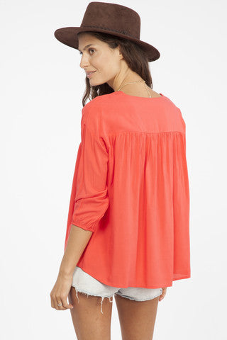 Coral Flowy Blouse