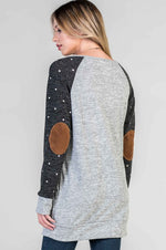 Polka Dot Raglan Tunic - Charcoal