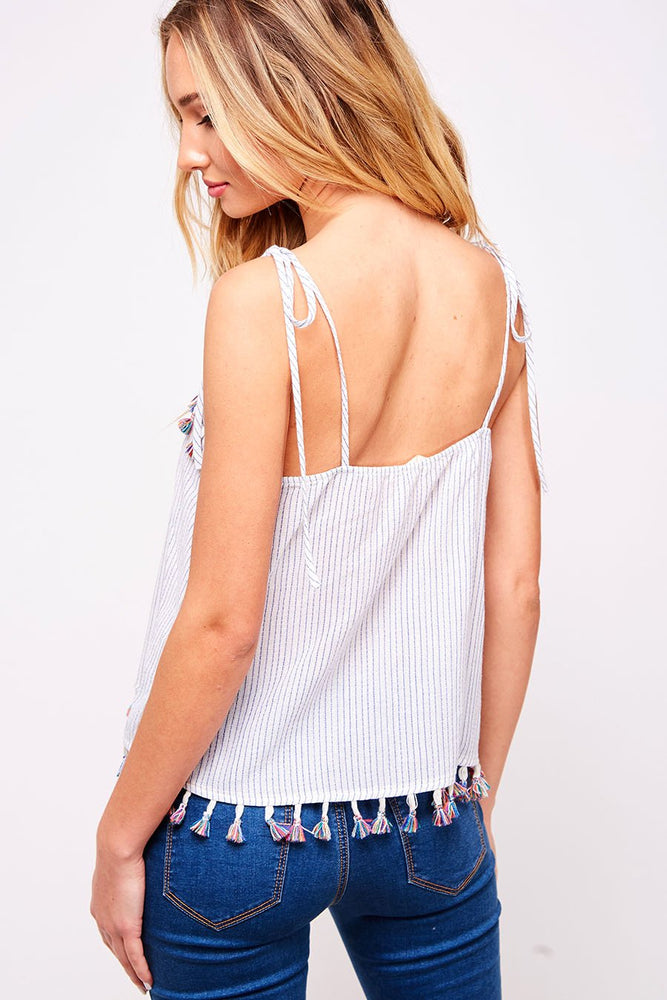 Striped Top with Tassels