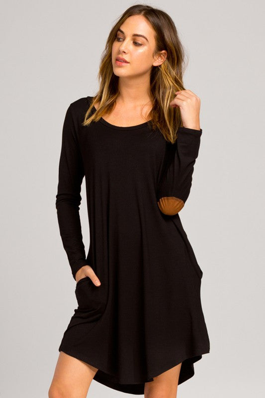 The Marcy Dress with Elbow Patches - Black