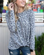 Grace & Lace Grey Cheetah Twist Hem Pullover
