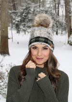 Green Buffalo Plaid Accent Beanie with PomPom